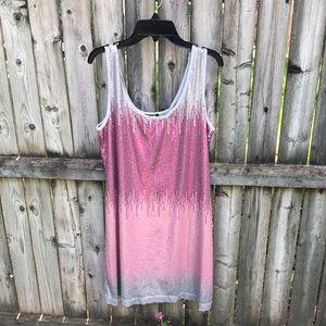 Sequin Hearts sequin color block pink gray dress L